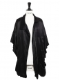 Black silk satin jacket with kimono sleeves Retail price €400 Size 38