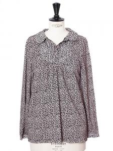 Blouse col Claudine en coton imprimé noir et rose Prix boutique 150€ Taille S
