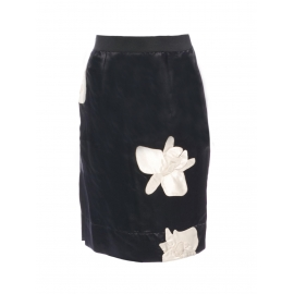 Midnight blue silk satin skirt embroidered with white orchid flowers Retail price €800 Size XS