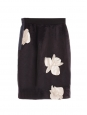 Night blue satin skirt embroidered with orchid flowers Retail price €800 Size XS
