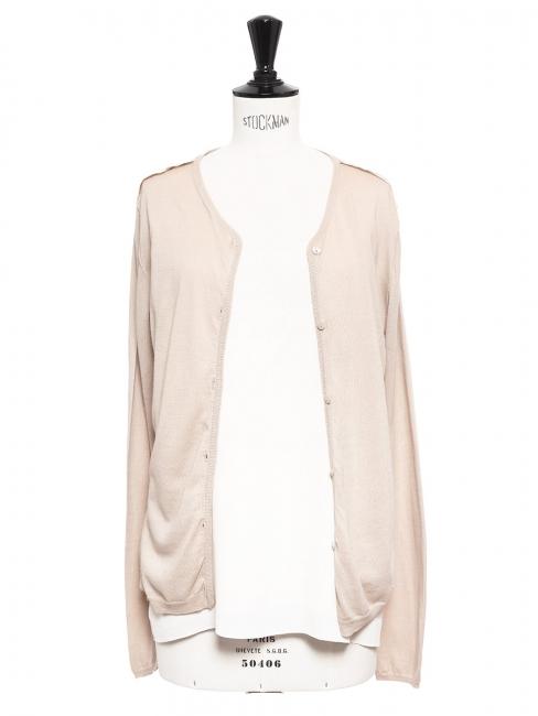 Gilet cardigan en coton et soie rose pâle NEUF Prix boutique 390€ Taille 36