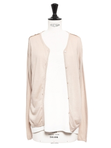 Light pink silk and cotton cardigan with a silk elasticated belt NEW Retail price €390 Size 36