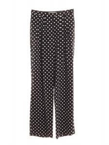 Pantalon large taille haute en crêpe noir à pois blancs NEUF Px boutique 175€ Taille 36/38