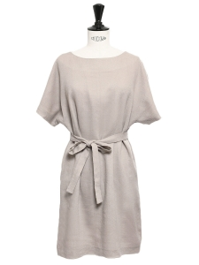 Beige wool and silk short sleeved dress Retail price €1100 Size 36