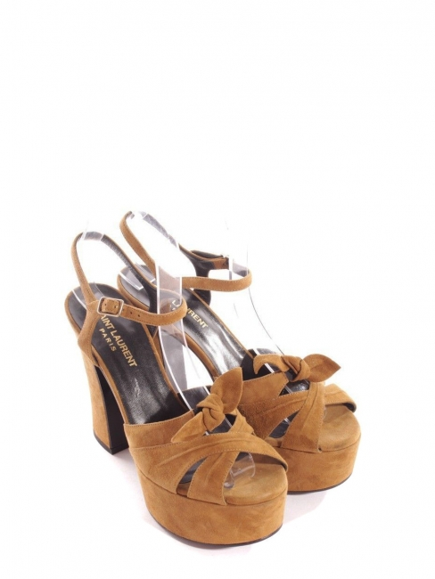 47171dc32e1 CANDY Tan brown suede leather wooden platform sandals Retail price  895 Size  36.5