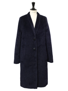 Midnight blue alpaca and virgin wool CARRERA Teddy Bear coat Retail price €999 Size 38