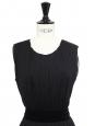 Robe sans manches en laine noire et ceinture velours Prix boutique 900€ Taille 38/40
