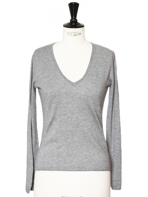 094cf5429 Louise Paris - ALLUDE CASHMERE Heather grey cotton and cashmere V ...