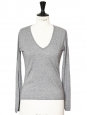 Heather grey cotton and cashmere V neck sweater Retail price €200 Size 34