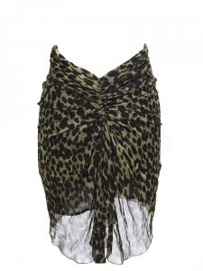 COLEEN khaki green and black leopard-print ruched crepe skirt Retail price €230 Size 36