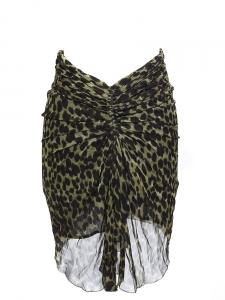 Jupe COLEEN en crêpe froncé imprimé léopard noir et kaki Px boutique 180€ Taille 36