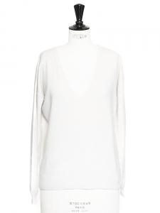 Pull manches longues col V en cachemire blanc ivoire Px boutique 250€ Taille 38
