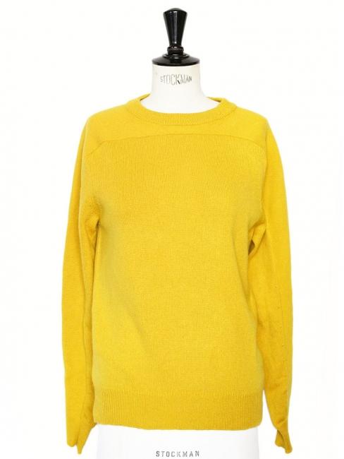 Pull col rond en maille de cachemire de luxe jaune miel Prix boutique 900€ Taille 36