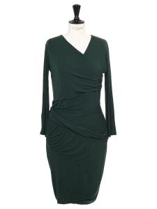 Robe manches longues en jersey de laine vert foncé Taille 40