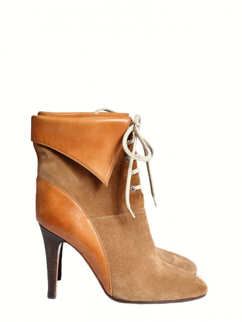 176b4fe7de2 KATHLEEN Camel brown suede lace up ankle heel boots NEW Retail price €595  Size 40