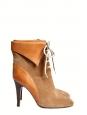Bottines KATHLEEN à talon et lacets en suède marron camel NEUVES Prix boutique 595€ Taille 40