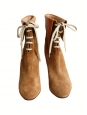 Bottines lace up KATHLEEN en suède marron camel NEUVES Px boutique 595€ Taille 36