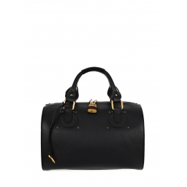 Black smooth leather AURORE duffle bag Retail price $1800