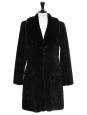 Manteau mi-long style seventies en fausse fourrure noire Taille 38
