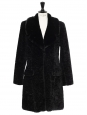 Seventies style mid-length black faux fur coat with large collar Size 38