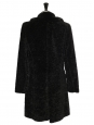 Black astrakhan-effect coat with faux fur collar Size 38
