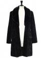 Manteau noir effet astrakhan et col en fausse fourrure Taille 38