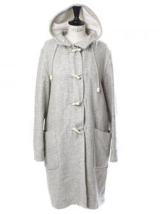 Manteau duffle-coat en laine et coton gris clair Px boutique 1500€ Taille 36 à 40