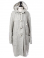 Long light grey wool and cotton duffle-coat Retail price €1500 Size 38