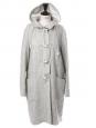 Manteau duffle-coat long en laine et coton gris clair Prix boutique 1500€ Taille 38