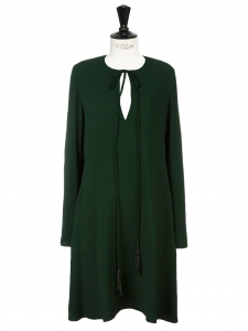 Forest green crepe long sleeves slit front dress with tassels Retail price €1268 Size 38