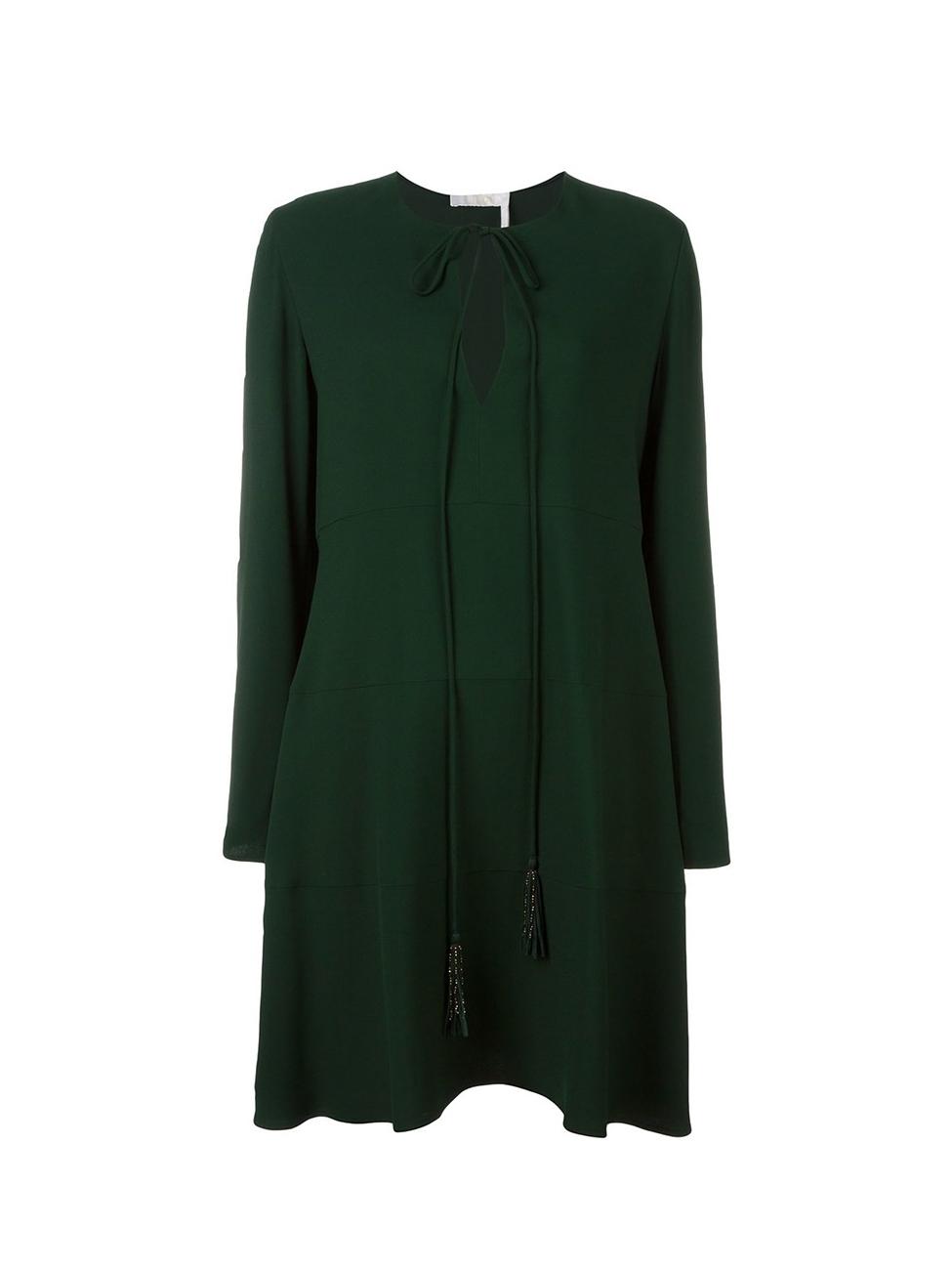 3b7c118eb35 Louise Paris - CHLOE Robe manches longues en crêpe vert forêt à pompons  dorés Px boutique 1268€ Taille 38