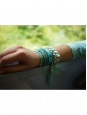 Bracelet Do Brasil chaîne en plaqué or tressée de fils vert émeraude Prix boutique 250€