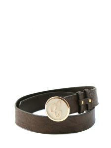 Enamel and taupe leather belt