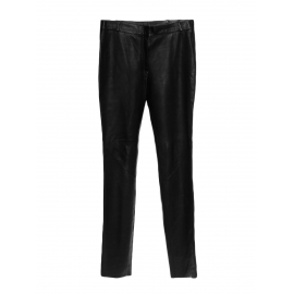 Black lambskin leather high waisted slim fit pants Retail price €3500 Size 38/40