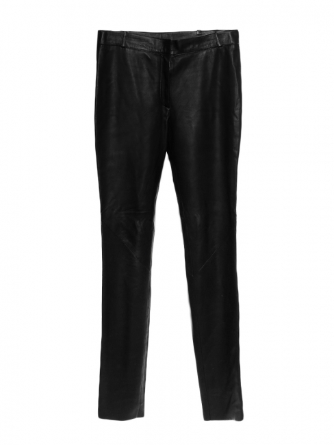bd4043a2714c Black lambskin leather high waisted slim fit pants Retail price €3500 Size  38 40