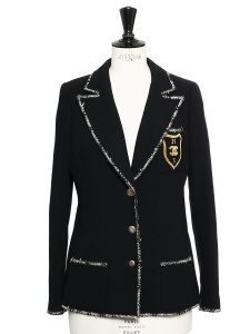 Black wool crepe and passementerie appliquéd Signature jacket Retail price €4000 Size 36