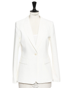 Ivory white crepe slim fit blazer jacket NEW Retail price €480 Size 36