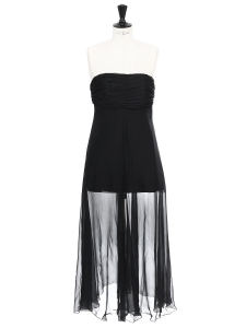 Black silk chiffon strapless dress Retail price €300 Size 36