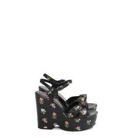 Sandales compensées CANDY plate-forme et bride cheville en cuir noir motif fleuri Prix boutique 670€ Taille 38