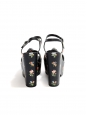 CANDY Flower printed black leather platform wedge sandals Retail price $895 Size 38