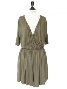 Khaki green jersey open back dress Retail price €660 Size 38
