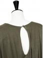 Robe manches courtes décolletée en jersey vert kaki Prix boutique 660€ Taille 38