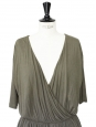 Khaki green jersey open back dress Retail price €660 Size 38