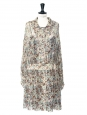 Blue green, beige and pink floral printed silk georgette mid-length dress Retail price €1000 Size 36