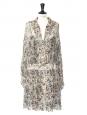 Robe mi-longue en georgette de soie imprimé fleuri vert rose brun bleu Prix boutique 1000€ Taille 36
