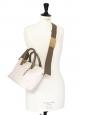 Sac BAYLEE porté main ou bandoulière en cuir rose poudre et vert kaki NEUF Prix boutique 1400€