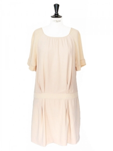 Pale pink silk open back Charleston dress Retail price €1100 Size 36