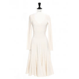 Off white stretch jersey long sleeved striped long dress Retail price €2200 Size 36