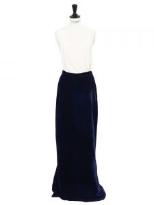 Jupe longue taille haute en velours bleu nuit Taille 34