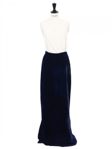 Midnight blue velvet high waisted long maxi skirt Size 34